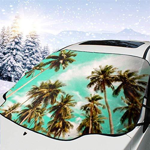 Tcerlcir Cubierta del Parabrisas Delantero del automóvil Hermosas Palmeras de Coco Viajes Verano Cubierta Impermeable para la Nieve del automóvil, Parasol para Quitar el Hielo del vehículo, 147x118cm