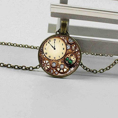 LKLFC Collar para Mujeres Hombres Reloj Steampunk Cúpula de Vidrio Colgante Collar Encanto Personalidad Reloj mecánico Reloj Colgante Joyería RegaloCollar Colgante Niñas Niños Regalo