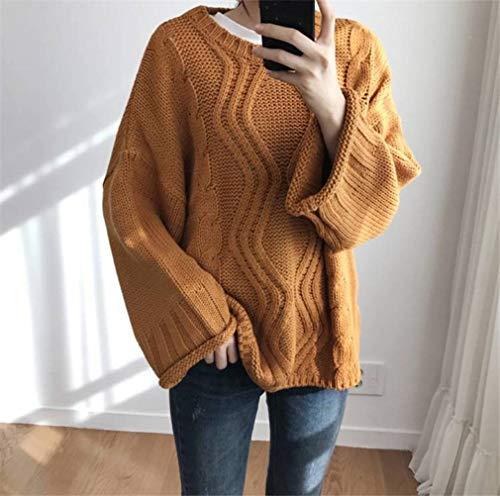 JUSTTIME Gebreide trui voor dames en heren, in Koreaanse stijl, gebreide trui voor alle vrouwen, Eén maat Oranje