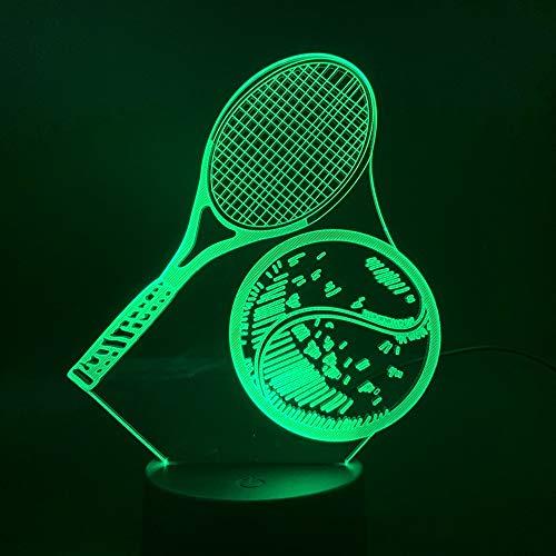LWJZQT Nachtlicht Übungs-Tennisschläger Der Lampen-3D, Der Einzigartiges Geschenk Für Kinder Ändert, Führte Nachtlicht-Lampe Für Innendekoration