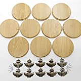 GTK 10 placas cuña redondas de roble claro AF 19 cm, tabla cuña, tabla de especias, placa para trofeos con 10 hojas de roble, portada grande