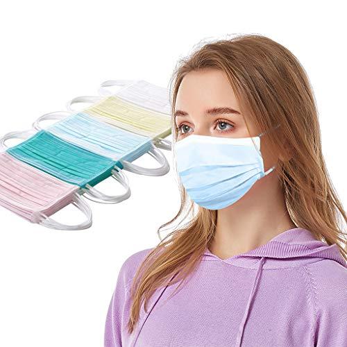 Keepwin 50 Stück Einweg Mundschutz,3 lagig Mund-Nasen-Schutz, Einfarbig Multifunktionstuch Bandana Staubdicht Atmungsaktiv Mund-Nasen Bedeckung Halstuch Schals für Erwachsene (QY-50PC)