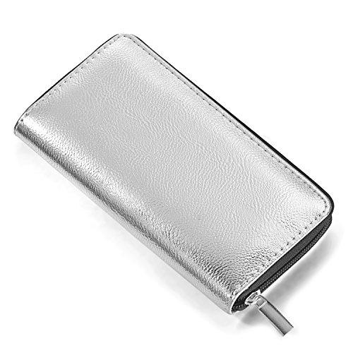 DonDon Portafoglio donna morbido aspetto metallico con chiusura lampo portamonete in argento 20 x 10 x 2,5 cm
