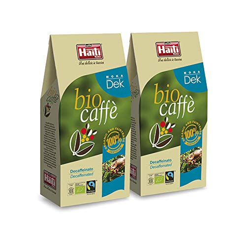 Caffè Haiti Roma Biocaffè Moka Dek 100% Bio 100% Fairtrade entkoffeinierter gemahlener Kaffee 2 x 250 g