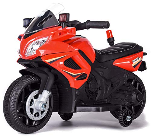 kid go Moto Elettrica per Bambini 6V Police Polizia Rossa