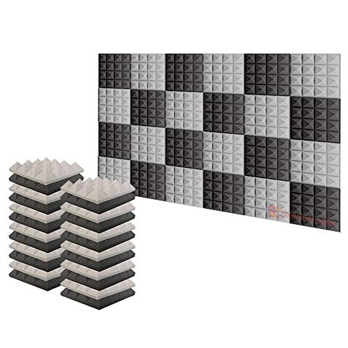 Arrowzoom Super Dash 24 Pieces of 25 X 25 X 5 cm Pyramid Black and Gray Acoustic Home Studio Soundproof Treatment Accessories Foam Wall Panel Tiles SD1034 (Black & Gray)