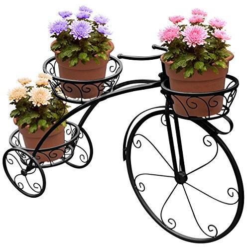 Sorbus Tricycle Plant Stand – Flower Pot Cart Holder – Ideal for Home, Garden, Patio – Great Gift for Plant Lovers, Housewarming, Mother's Day – Parisian Style (Black)