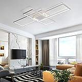 Lámpara de techo rectangular LED moderna para dormitorio con control remoto Lámpara de techoPantalla cuadrada de acrílico para iluminación interior Luz de techo, blanco, 140 CM