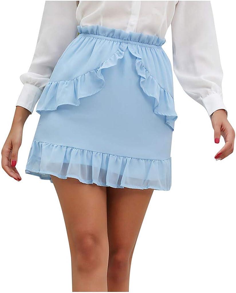 Gergeos Women's Casual Short Skirts Fashion Ruffles Chiffon Mini Skirt Blue S-XL