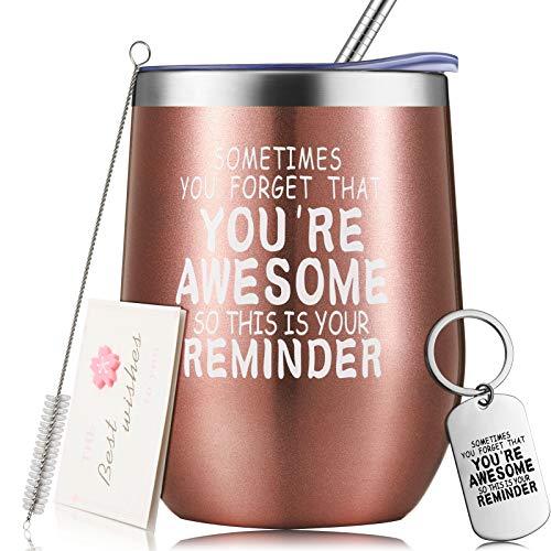 Set de Vaso de Agradecimiento, Regalo de Cumpleaños Divertido Inspirador, Vaso de Vino de Acero Inoxidable con Aislamiento al Vacío, Sometimes You Forget That You are Awesome (Oro Rosa)