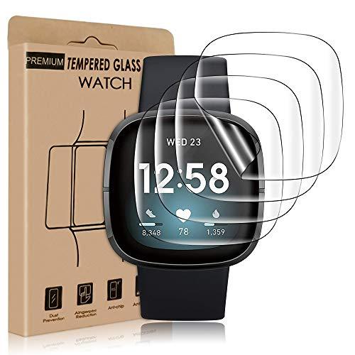 wsky Schutzfolie für Fitbit Versa 3/ Fitbit Sense, HD Transparent, TPU Flexibel Folie, Anti-Kratzen Displayschutzfolie [4 Stück], Vollständig abdecken Displayschutzfolie