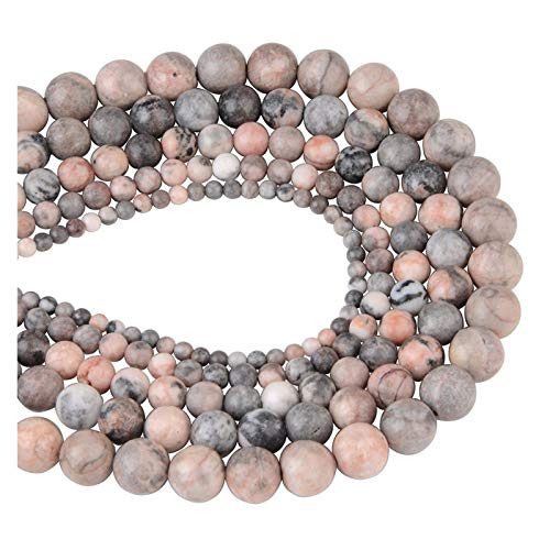 Linyuex 4,6,8,10,12mm Natural Stone Beads Black Lava Tiger Eye Bulk Loose Stone Beads For DIY Making Bracelet Necklace Jewelry (Color : Pink zebra, Size : 12mm-30pcs)