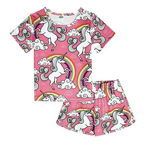 ModaIOO Chicas Unicornio 2 Piezas Conjunto Pijamas Manga Corta(8017,U2P,110)
