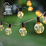 Lichterkette Außen IP65 Lichterkette Glühbirnen G40 GlobaLink 17,7M Garten Lichterkette mit 50 Birnen Außen-/Innenbeleuchtung mit stecker Deko für Zimmer, Bar, Garten, Balkon(3 Ersatzbirnen)-Warmweiß