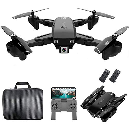 KLJJQAQ GPS RC Drone with 1080P HD Camera Follow Me Auto Return WiFi FPV Live Video Gesture Photos RC Quadcopter for Adults with 2 Battery and Handbag