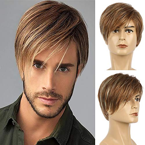 Baruisi Mens Brown Wig Short Layered Straight Cosplay Synthetic Hair Wig for Men