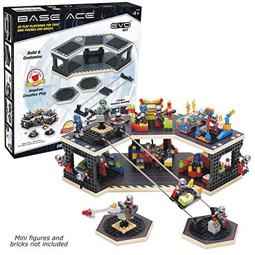 Base Ace Plataforma de Juego 3D para Minifiguras, Kit EVO con líneas Rojas, Compatible con Todas Las Marcas líderes de Ladrillos para construcción de Juguetes
