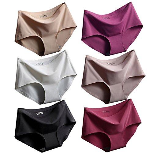 Srizgo  Panty Damen 6er Pack Soft angenehm nahlos Seamless bequem mit Doppelkante Unterhose Silps Damen, L / Tag XL, Schwarz+weiß+haut+hellbraun+rose Rot+erdbeere Rot