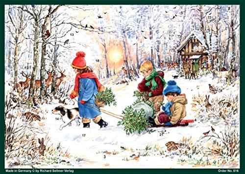 Richard Sellmer Verlag Adventskalender / Weihnachtskalender auf Papier für Kinder und Erwachsene Schneefreuden im Wald