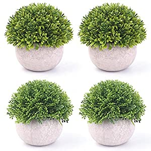 Silk Flower Arrangements BOMAROLAN 4 Pcs Mini Potted Plastic Artificial Green Plants, Fake Topiary Shrubs Fake Plant, Small Faux Greenery, for Bathroom Home Office Desk Decorations (Potted Plants)