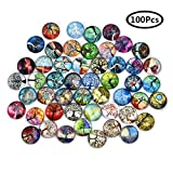 DROLE 100Pcs 12mm Tree of Life Glass Dome Cabochons Printed Half Round Gems for Jewelry Making Handcrafts DIY...
