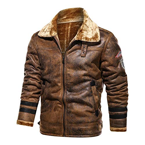 Dilusso Winter Herrenjacke Pelz Leder Wildleder Mantel Männlich Retro Verdickt Leder Bomberjacke Herren Marke Biker Jacke Mann AF819-819_Brown_4XL