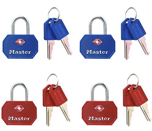 Master Lock 4681EURTBLR 2 lucchetti TSA 30mm a Chiave Colore Rosso e Blu