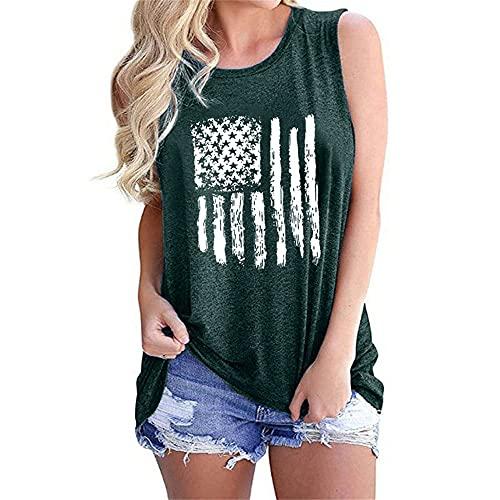Mayntop Camiseta sin mangas para mujer, con diseño de bandera de Estados Unidos, 4 de julio, camiseta con cuello en O, B-verde, 40