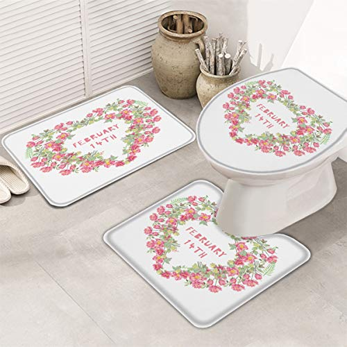 Valentines 3 Piece Bath Rugs Sets Valentines Day Bathroom Mats Set for Valentines, Non Slip U-Shaped Toilet Mat, Toilet Lid Cover Love Heart Garlands with Flowers Bathroom Rug
