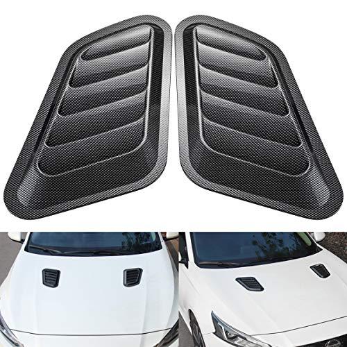 KATUR 1 par de cubiertas de ventilación universales para capó de ABS decorativas, de fibra de carbono.