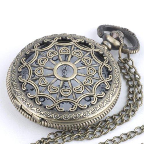 81stgenerationヴィンテージスタイル真鍮懐中時計型ペンダントロングチェーンネックレス