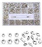 Cristales de uñas, gemas de uñas y diamantes de imitación, 10040 piezas AB Flatback Craft Gems, Kit de Bedazzler para suministros de tecnología de uñas, forma de gota de lluvia-1400+8600 blanco