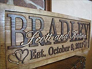 3d Personalized Wedding Gifts Hearts Family Name Signs CARVED Custom Wood Sign Last Name Wedding Gift for couple Established love Hearts signs made in USA