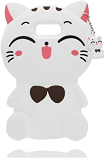 Samsung Galaxy S8 Plus Case, iFunny Cute 3D Cartoon Animals Fortune Beard Cat Shockproof and Protective Soft Silicone Rubber Phone Case for Samsung Galaxy S8 Plus (6.2 inch) (Fortune Cat White)
