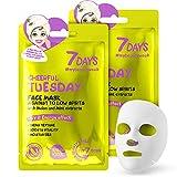 7DAYS Masque Facial 2 Pièces Soin Quotidien Hydratant Effet refroidissant Masque en Tissu Pour tout types de Peaux Produits Vegans 2x28g / Mardi
