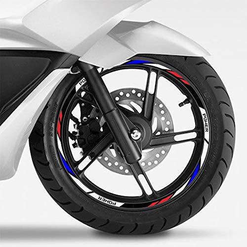 Pegatinas de rimas de Ruedas de Rueda Curvada 10'12' Tiras de Rueda de Motocicleta Pegatinas de neumáticos Coche Reflectante Rim Cinta Motorbike Calcomanías de Bicicleta para Honda Yamaha