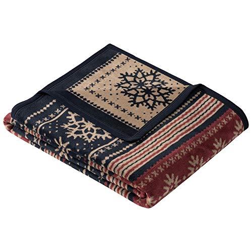 Ibena Wyoming Kuscheldecke 150x200 cm - Decke mit Schneeflockenmuster blau Bordeauxrot, Leicht zu pflegene & kuschelweiche Baumwollmischung