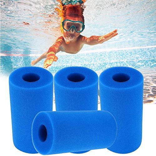 Kmegas Pool Filter Sponge Cartridge for Intex Type A or C Pool Pump, 4 Pack Swimming Pool Filter Foam Reusable Washable Type A/C Replacement Filter Pump Cartridge