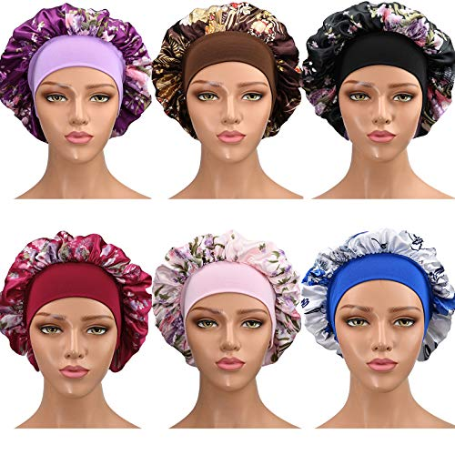 6 Pack Satin Sleep Cap Bonnet Cap for Women Soft Elastic Wide Band Hat Night Sleeping Hat Head Cover Hair Bonnet for Good Sleeping