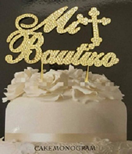 Mi Bautizo Gold Rhinestone Cake Topper Keepsake Decoration