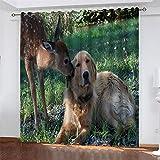 NQING Cortinas De Poliéster De Impresión Digital 3D De La Serie Elk, Cortinas De Sombreado Y Reducción De Ruido con Perforaciones 2xAN140xAL260cm