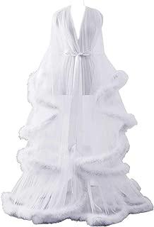 Sexy Illusion Long Lingerie Robe Nightgown Bathrobe Sleepwear Feather Bridal Robe Wedding Scarf