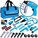 TEPSMIGO Kids Tool Set, Pretend Play Construction Tool Toys 31PC with Drill and Tool Handbag, STEM Eucational Repair Workbench Preschool Toys for 3 4 5 6 7 8 Years Old Toddlers Kids Boys and Girls