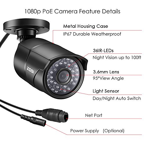 ZOSI 1080p PoE Home Security Camera System, 8 Channel NVR Recorder (1TB Hard Drive Built-in) and (4) 2MP 1920x1080p Surveillance CCTV Bullet IP Camera Outdoor/Indoor with 100ft Long Night Vision