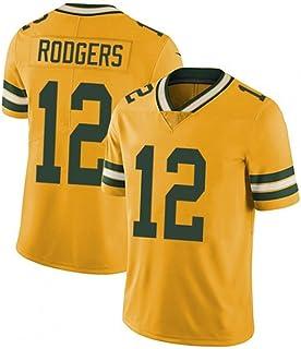Green Bay Packers Aaron Rodgers # 12 Herren Rugby Trikot USA Fußballtrikot, Baumwolle Sport Kurzarm Schnelltrocknendes Hemd, geeignet für Sport und Rugby Wettkämpfe