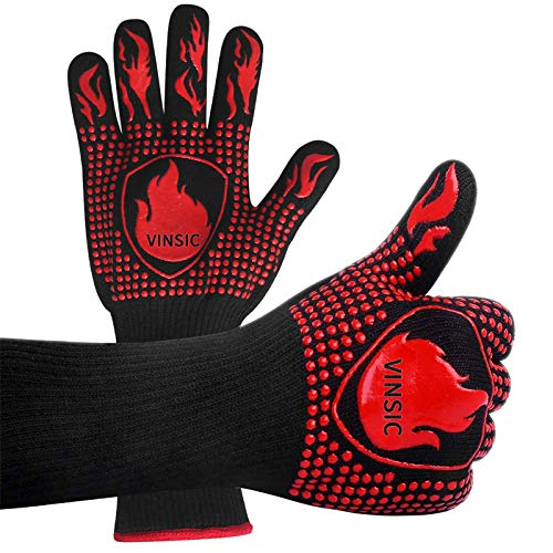 VINSIC BBQ Gloves, 1472℉ Oven Gloves Heat Resistant Gloves Silicone Oven Mitts for Grade Kitchen Grilling Gloves for Barbecue, Cooking, Baking, Welding, Cutting, Smoker - 1 Pair 14 inch