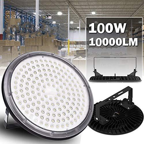 LED Projecteur UFO, 100W ultra-mince Lampe Industriel LED avec bracket Extérieur Spot Phare de Travail Étanche IP65 pour extérieur stade intérieur place panneaux d'affichage usine entrepôt (100W)