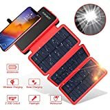 Solar Power Bank Wireless Solar Charger 20000mAh,POWOBEST Portable External Battery with 3 Foldable