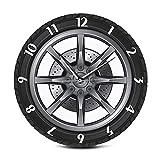 Tiamu Orologio da Muro al Quarz, Orologio da Parete Silenzioso 30 cm, Orologio da parete con ruota creativa per pneumatici, auto, meccanico, officina