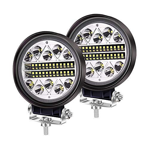 YnGia Faros antiniebla de conducción todoterreno de 102W, luces LED redondas, luces combinadas de inundación, 12V 24V, para camión, tractor, coche, 4x4, ATV, UTV, SUV, barco